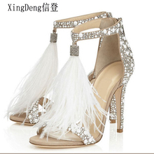 XingDeng Ladies Wedding Party High Heels Rhinestone Ankle Strap Sexy Sandal Wome