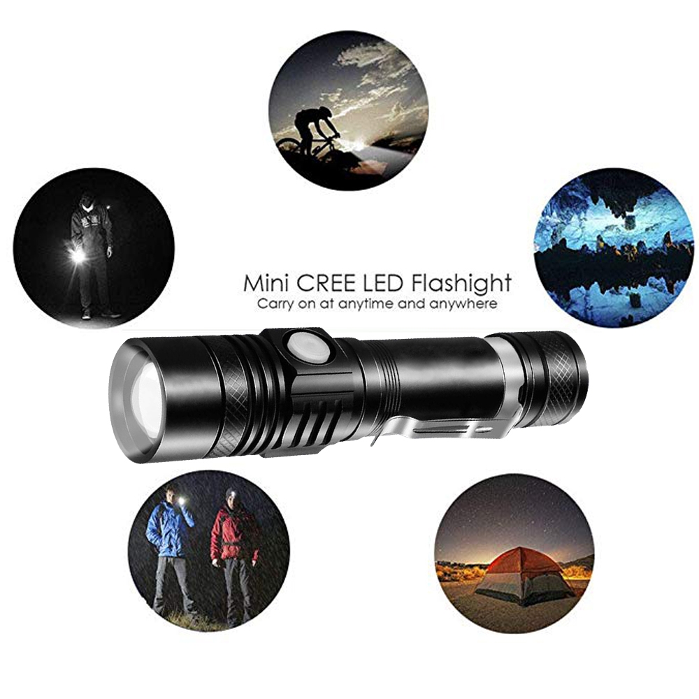 Купить с кэшбэком USB Rechargeable T6 LED Flashlight Aluminum Waterproof LED Flash Light Hand Torch Lamp Lantern 18650 LED With Power Reminder