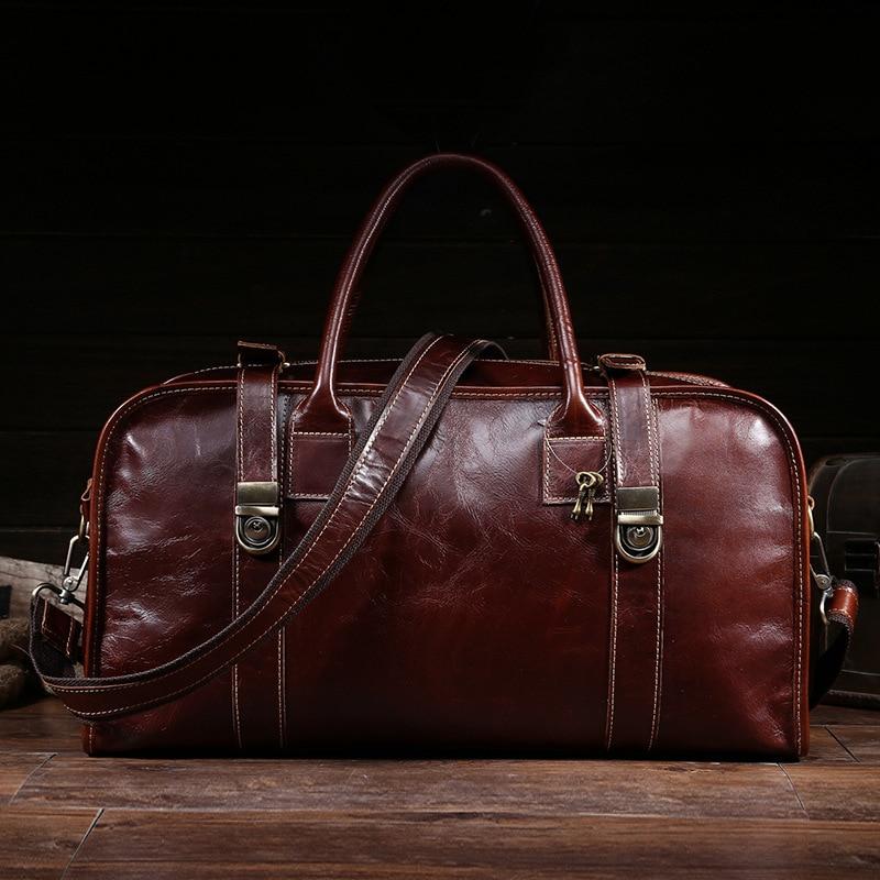 New Oil Wax Leather Men's Travel Bag Retro Large Capacity Handbag Head Layer Leather Shoulder Bag Business Travel Men Package slow head layer cowhide handbag retro oil wax bag leather bag travel bag