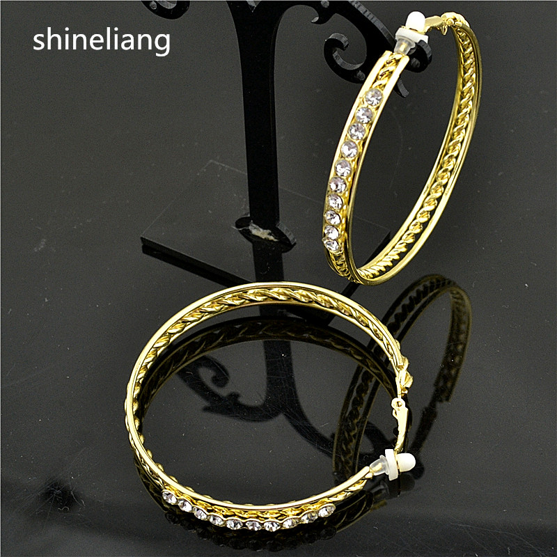 Shineliang Clip on the ear ring No hole Without piercing Rhinestone Earrings for women Fashion female gold silver round jewelry