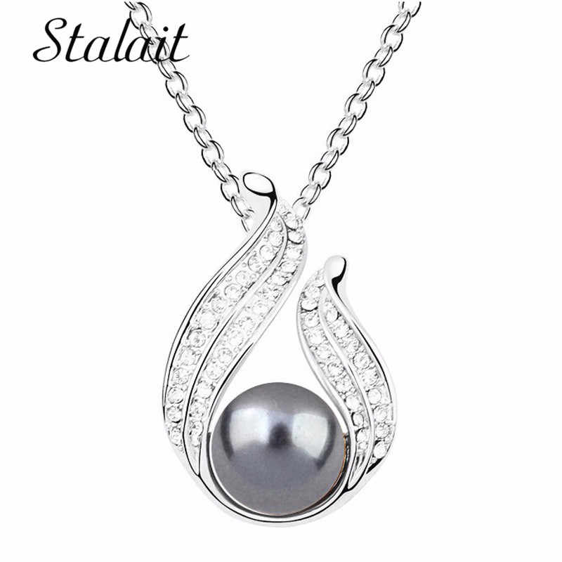 18KGP Alloy Classic Simulated Pearl Drop Necklace Fashion U Style Crystal Pearl Necklace Jewelry