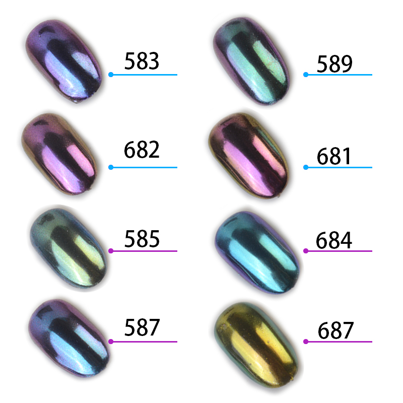 1g/box Chameleon Mirror Nail Glitters Shinning Powder Gorgeous Nail Art Chrome Pigment Manicure Dust Nail Art Decorations