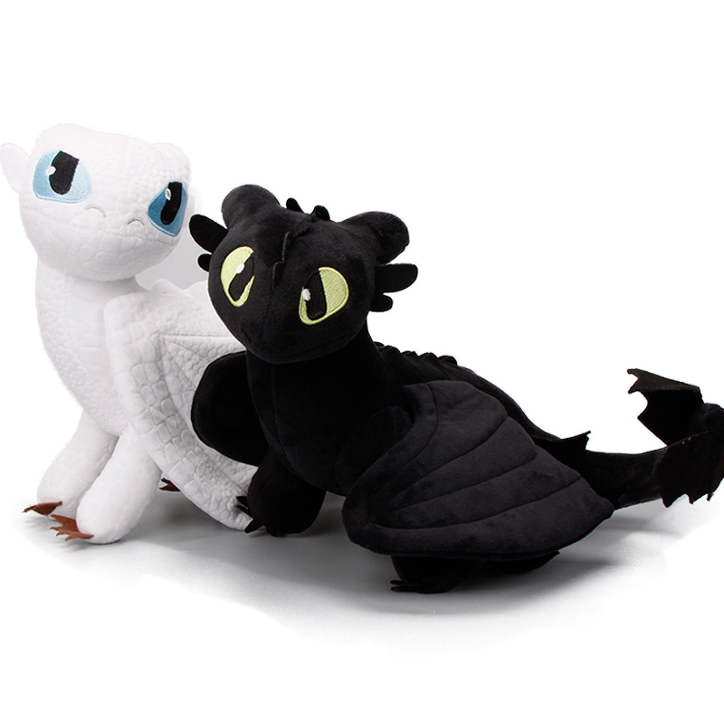 2pcs/set Hidden World Light Fury 15-55cm How To Train Your Dragon 3 Plush Toys Toothless Night Fury Soft Stuffed Dolls Dragon