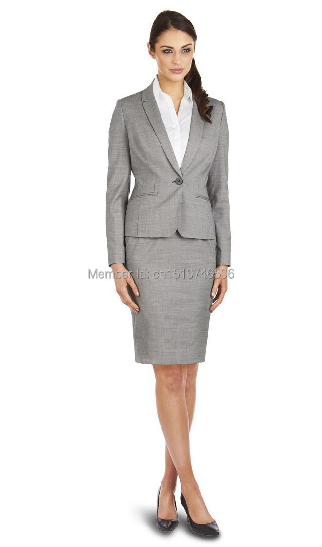 2016 New Style customs made 100% wool grey OL one button notch lapel women skirt suit