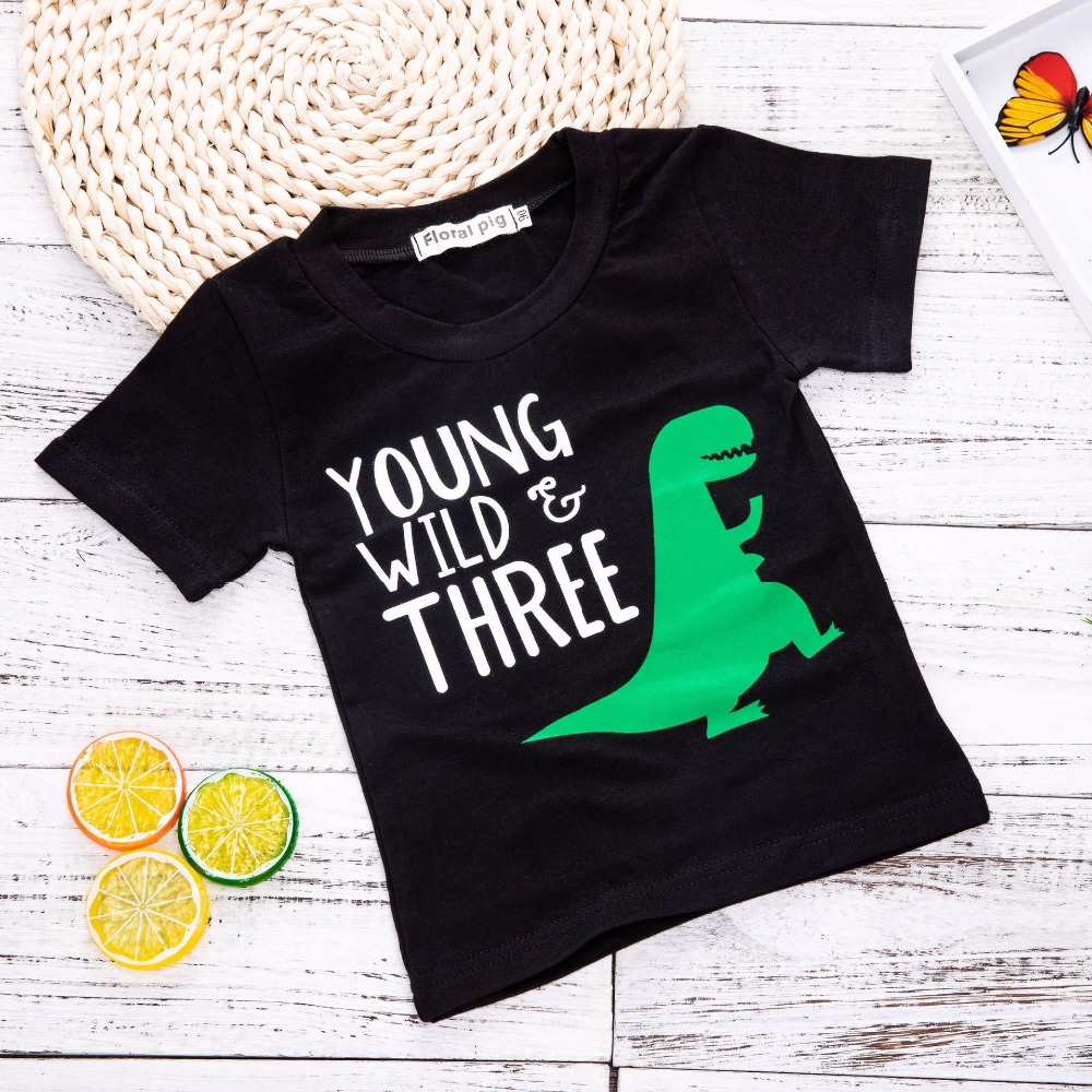 Baby Boy Summer Clothes Summer Top Toddler Black Shirt Dinosaur Party Girls T-Shirts For Boy T Shirts Tiny Cottons Kids Clothes