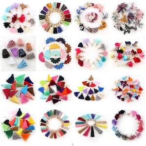 10~30pcs mixed Types Tassel Findings Flower Silk Polyester Charms Pendant Drop Earring