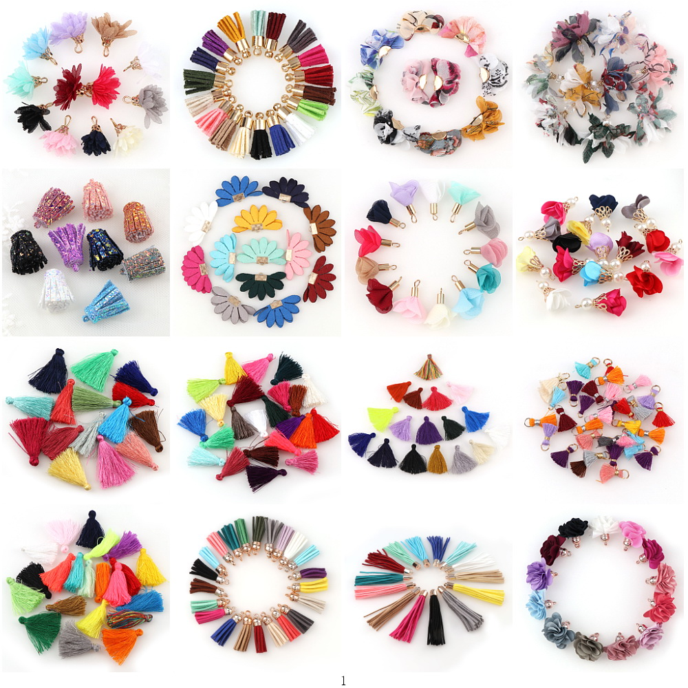 10~30pcs Mixed Types Tassel Findings Flower Silk Polyester Charms Pendant Drop Earring Tassel For Jewelry DIY Graft Making