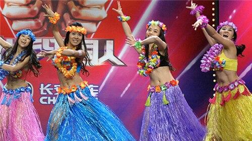Venta al por mayor 6 uds. De fibras plásticas faldas de hierba Hula falda hawaiana disfraces de 60CM para mujer vestidos para fiesta Decoración