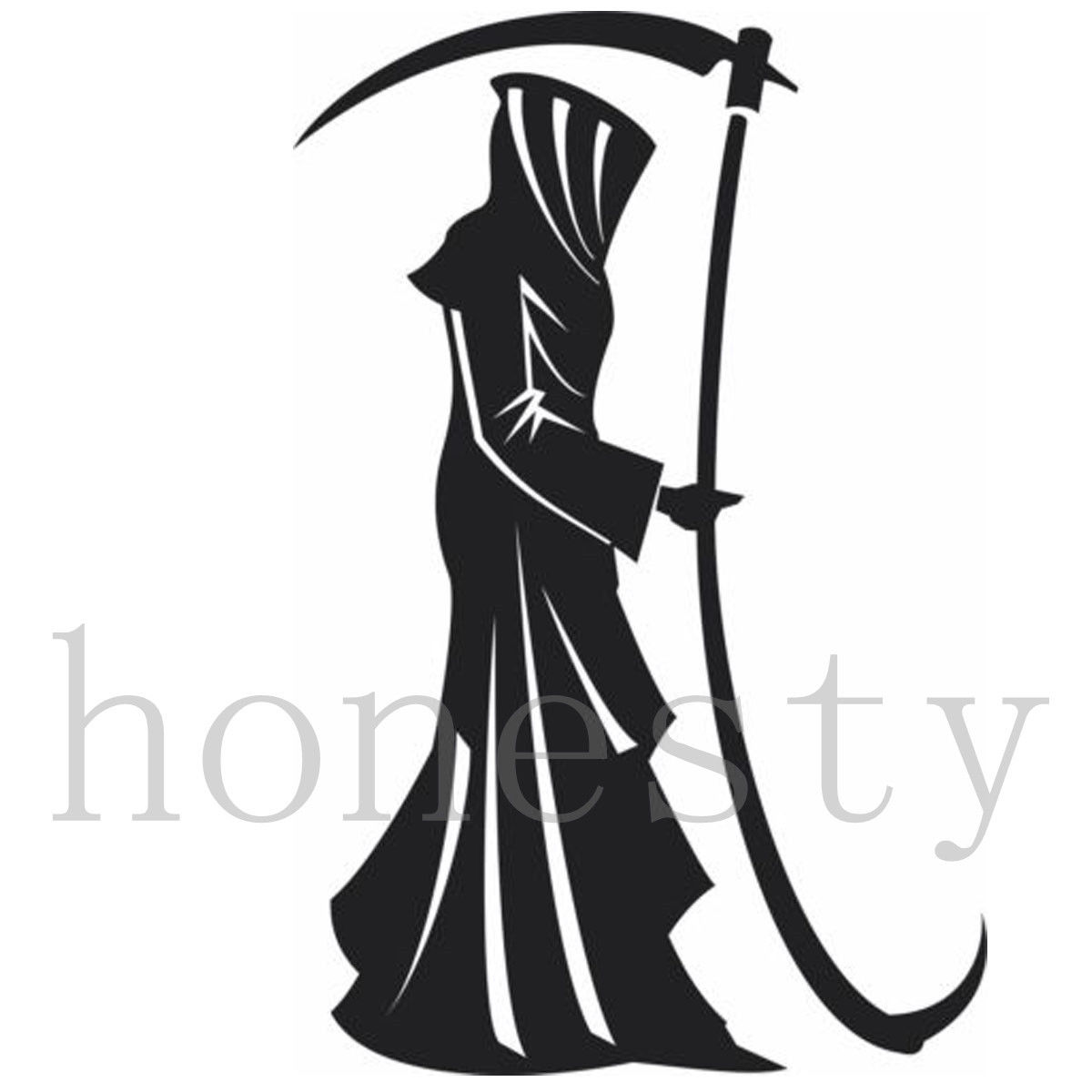 Grim Reaper Standing with Scythe Wall Home Glass Room Window Laptop Auto Truck Car Sticker Animal Vinyl Black Decal Sticker Gift