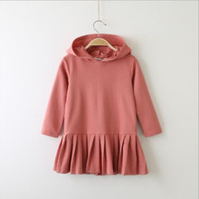 2019 new sweater dress autumn children's clothes rabbit ears long sleeve pleated girls hooded sweater dress hooded long sleeve dress