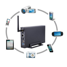 USB3.0 Wireless Hard Drive Case with wifi hdd enclosure 3.5″  Wireless Repeater WiFi Storage WIFI hard disk box  RJ45