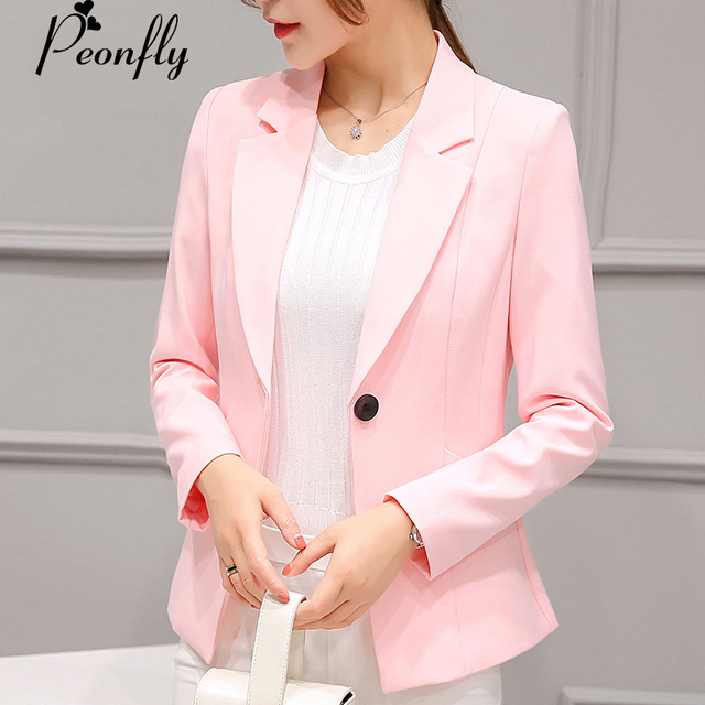 cc6e1a245ee3b PEONFLY dames Blazer manches longues d'affaires costume de bureau vestes  Femme rose gris Blaser