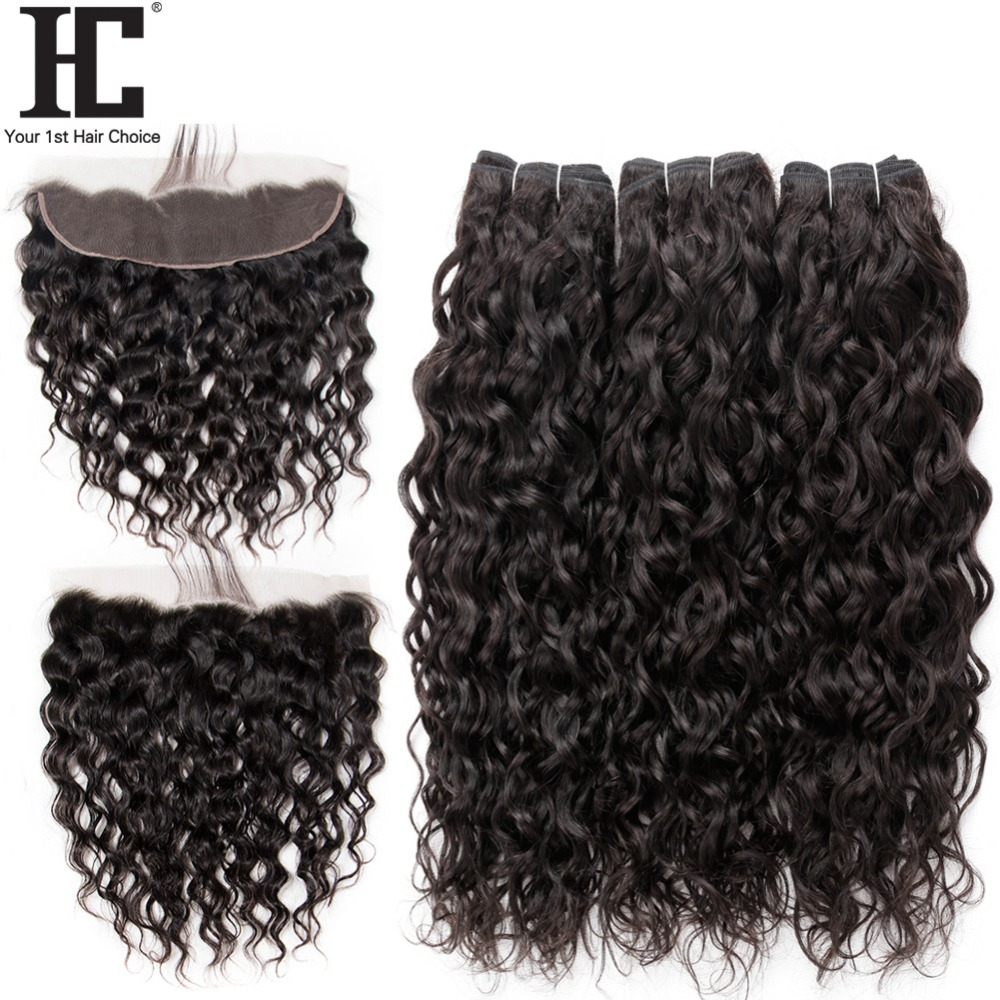HC Water Wave Bundles With Frontal Brazilian Hair Weave 3 Bundles Human Hair Non Remy 4 Pcs Lace Frontal Closure With Bundle