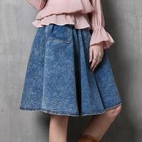Seventh 2015 New Fashion Brand Autumn Denim Skirts Womens Vintage Ethnic Pockets All Match High Street