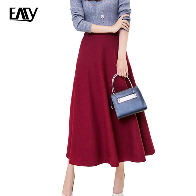 b591cc589 female lady skirts autumn winter long warm skirt plus size high waist maxi  jupe green black