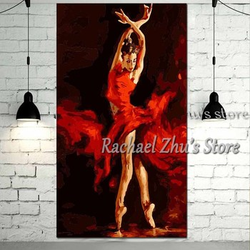 Large Size Hand Painted Abstract Figure Art Oil Painting On Canvas Sexy Girl Dancer Wall Picture Living Room Bedroom Home Decor