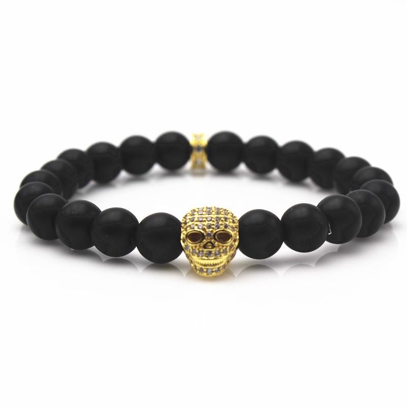 CZ Skull Brand Northskull Charm & 8MM Black Stone Bead Men Bracelet,Skeleton Head Yoga Elastic Bracelets,Fashion Jewelry