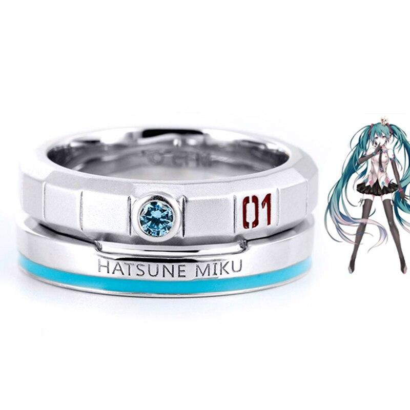 Anime Hatsune Miku anneau mode femmes hommes anneaux Hatsune Miku Double anneau pour Couples bijoux cadeau gratuit obtenir chaîne de corde