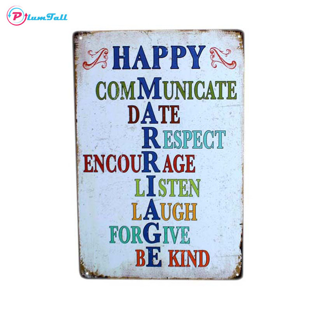 Happy Marriage Quote Vintage Metal Signs Home Decor Metal Plaques Retro Bar  Tin Sign Pub Cafe