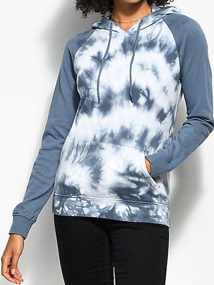 Womens Skate Street Blue Gray Tie Dye Raglan Pullover Hoodie USA Size M