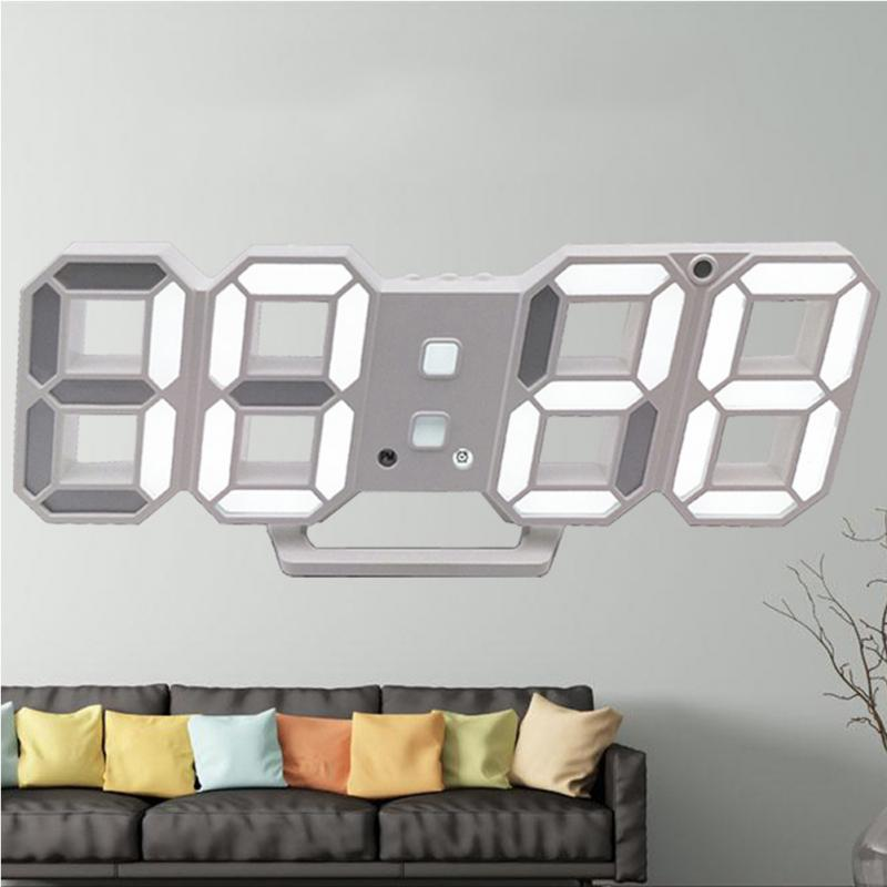 Led Wall Clock Digital Alarm Clocks Display 3 Brightness Levels