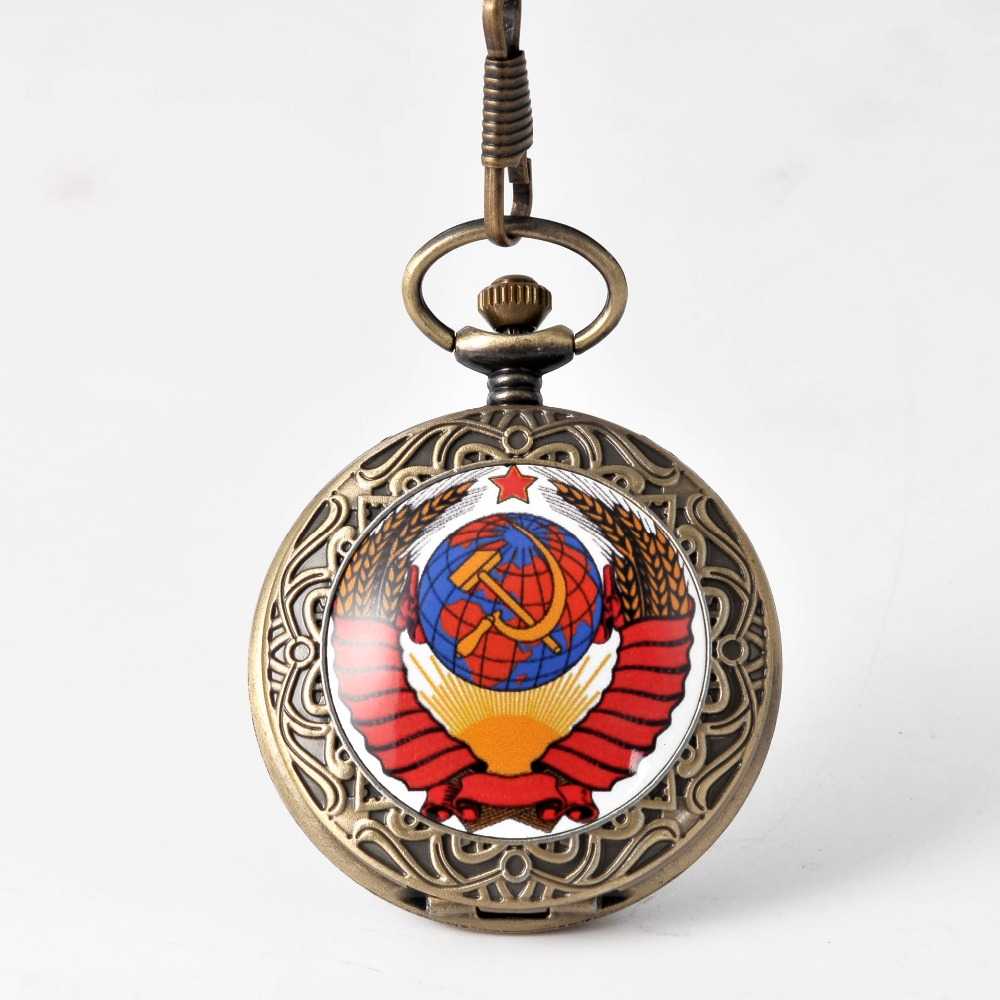 Map Design New Arrival Bronze Red Globe Retro Bronze Quartz Pocket Watches Vintage Fob Watches  Birthday Gift