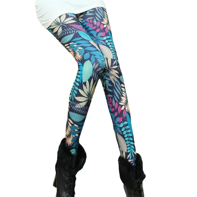 Spring 2018 Fashion Girl Legging Spandex aptitud Print Floral Leggings Leggins Milk Silk Women Pants Leaf Tetris Clothing K090