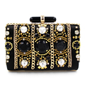 New Recommend luxury fashion retro black diamond chain beaded clutch evening bag shoulder bag messenger bag ladies handbag party