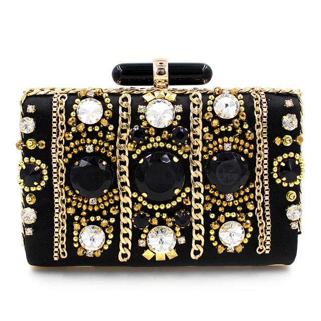 Retro Diamond Beaded Clutch