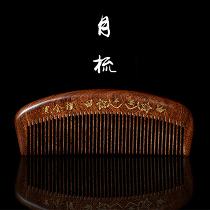 Professional Health Care Comb Anti-static Massage Green Sandalwood Comb Handmade Hair Brush Wedding/ Birthday Gift green sandalwood combed wooden head neck mammary gland meridian lymphatic massage comb wide teeth comb