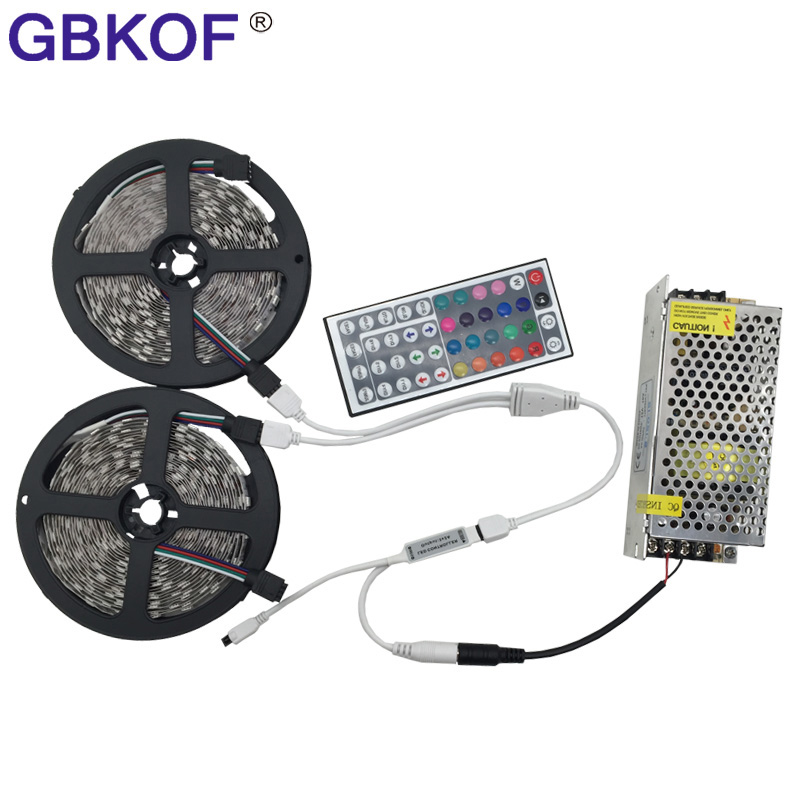 цена на 10M 5050 RGB LED Strip Light 2*5m 60leds/M SMD Flexible Bar Light+44 Key IR Remote Controller+DC 12 V 10A Power Adapter