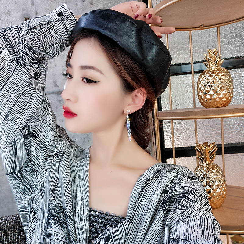19 New Fashion Arrival Crystal Classic Geometric Long Dangle Earrings For Woman Female Jewelry Korean Simple Earrings 1