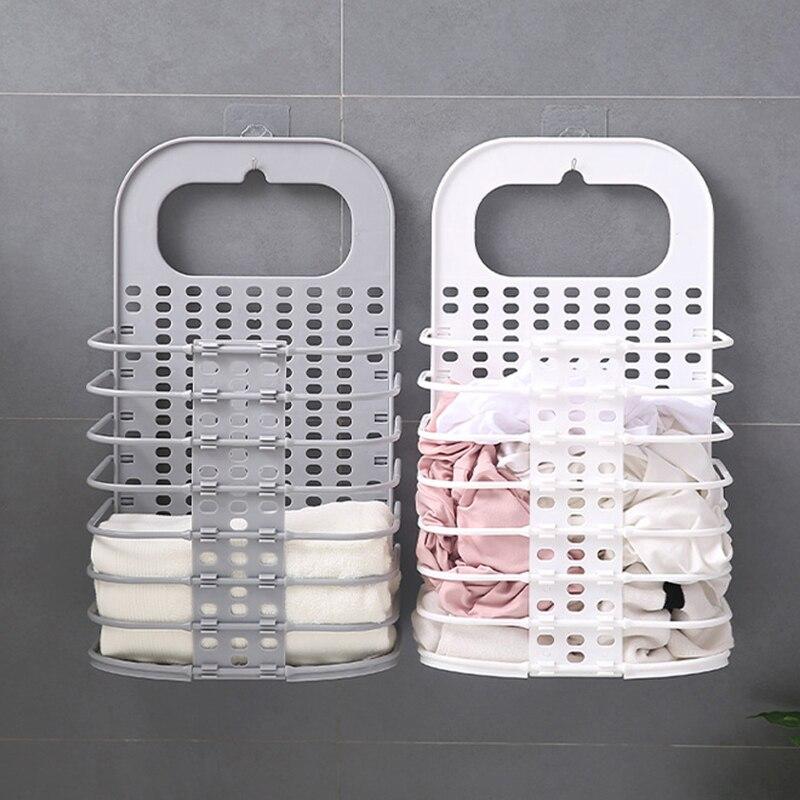 Simple PP Storage Basket Roll Bathroom Sundries Hair Dryer Holder Storage Basket Rack Towel Hanging