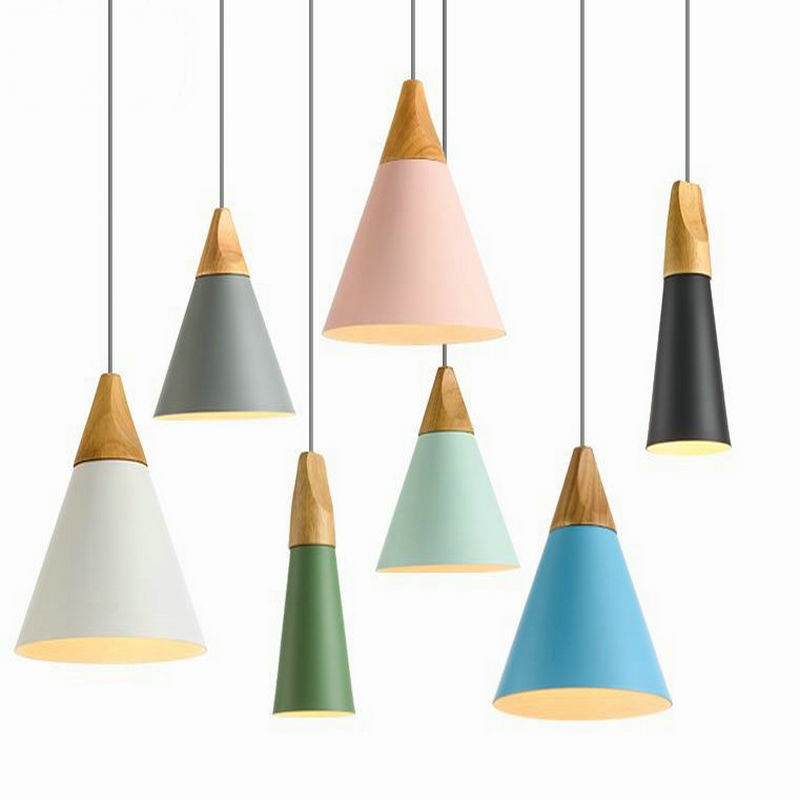 Nordic Pendant Light Wood Aluminum Lampshade Industrial Lighting Loft Lamparas Colorful drop lamp E27 3W led Light FixturesNordic Pendant Light Wood Aluminum Lampshade Industrial Lighting Loft Lamparas Colorful drop lamp E27 3W led Light Fixtures