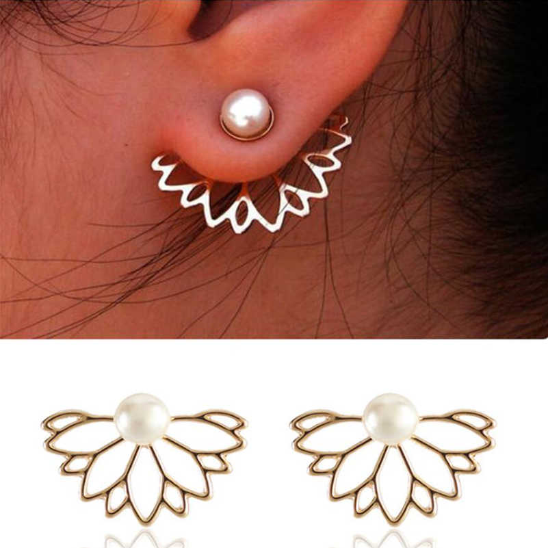 Shuangshuo Bohemian Hollow Flower Earring Jackets Pearl Earrings for Women Fashion Earrings Plant Leaf Earring Accessories