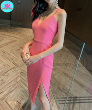 2019 summer new Korean women's sexy V-neck one-shoulder butterfly machine solid color open sling dress недорого