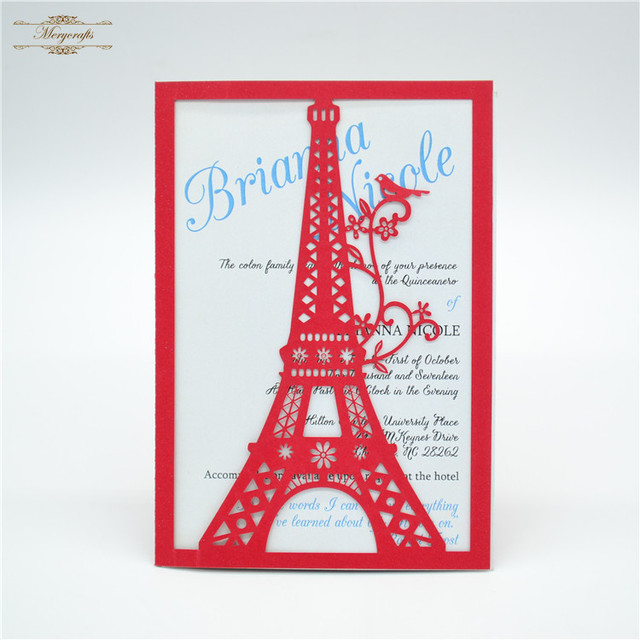 Eiffel Tower Unique Design Laser Cut Red Wedding Invitation Covers
