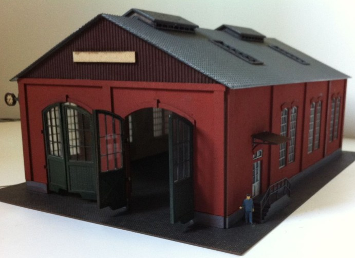 1 87 Model Train ho scale red two door garage diy kit architectural model material sand