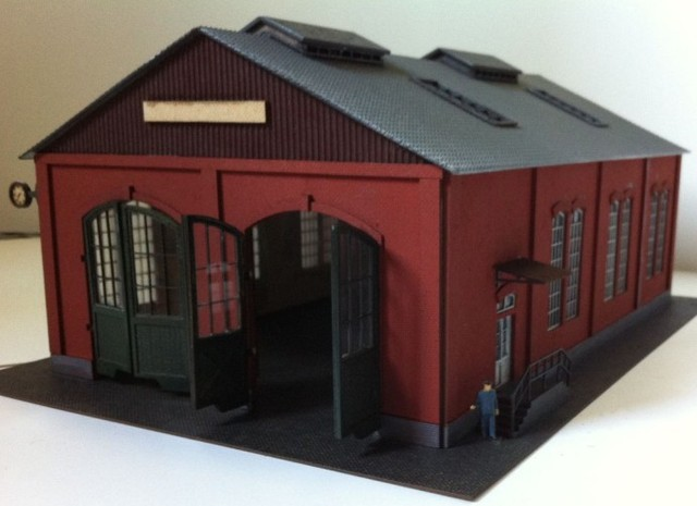 1 87 model train ho scale red two door garage diy kit architectural