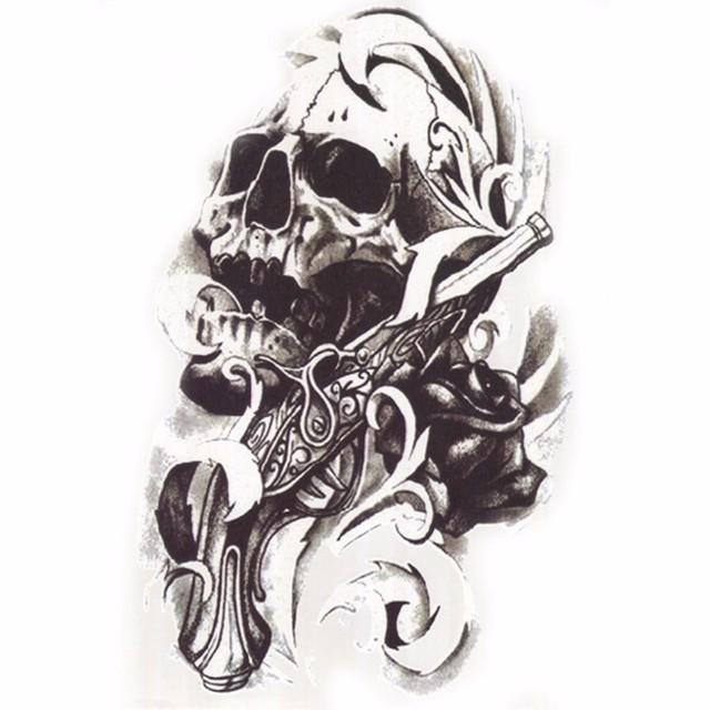 2PCS Hot Black Death Skull Shoulder Tattoos Fake Arm Sleeve Tattoo Waterproof Temporary Man Tatoo Sticker Tatuagem For Body Art