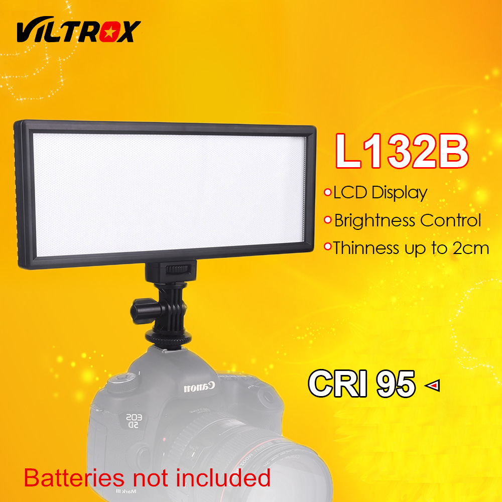 Viltrox L132B Camera LED Light Display LCD ultra sottile Dimmerabile Studio LED Light Panel lampada per videocamera DSLR DV Camcorder