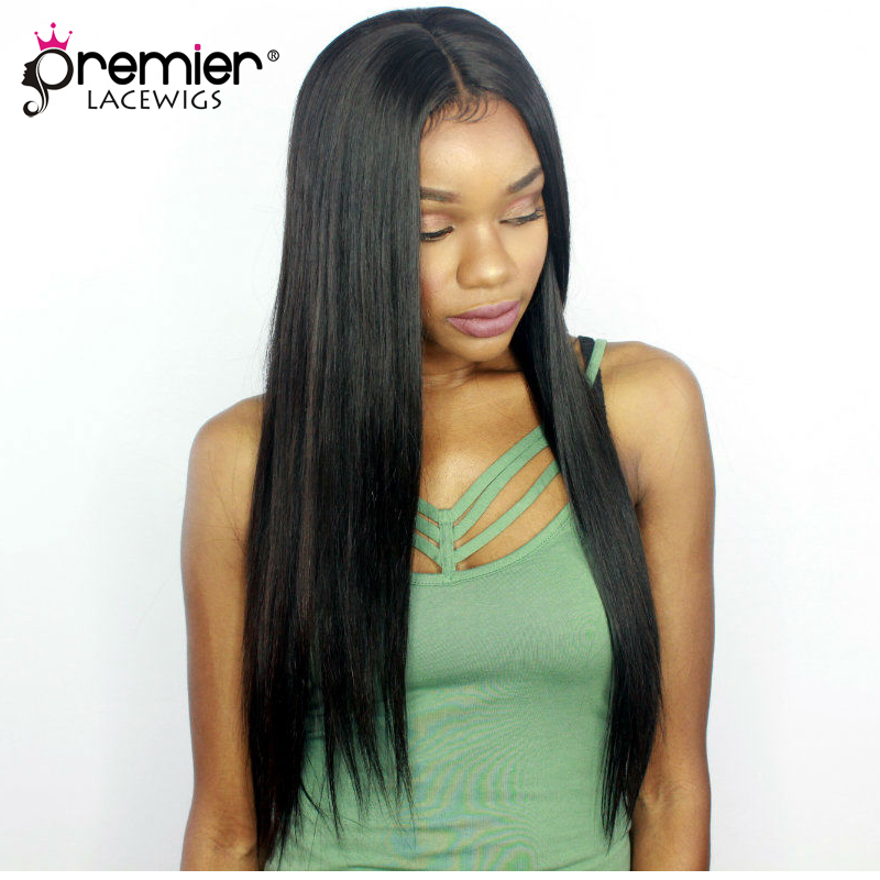 PREMIER LACE WIGS Glueless Human Hair Lace Front Wigs Silky Straight Indian Remy Hair Lace Wigs With Baby Hair [LFW-I-SS]
