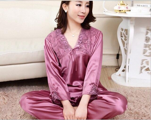 Women silk lace v neck long sleeves nightgown nighty 7ae8b5bec