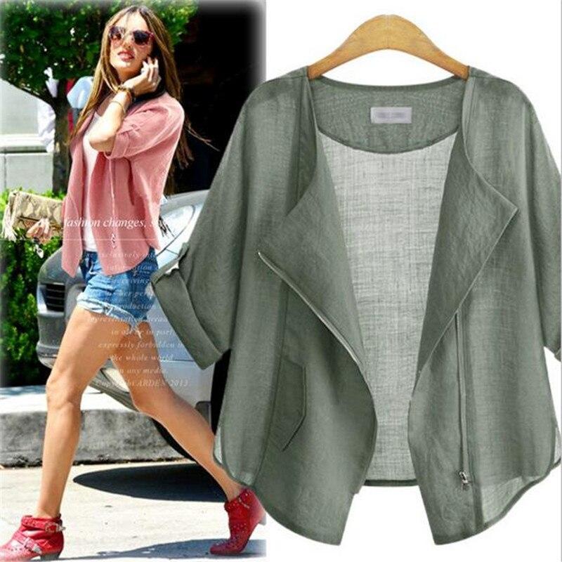 Summer Cotton Linen Jacket Women 2016 Coat Casual Long Sleeve Slim ...