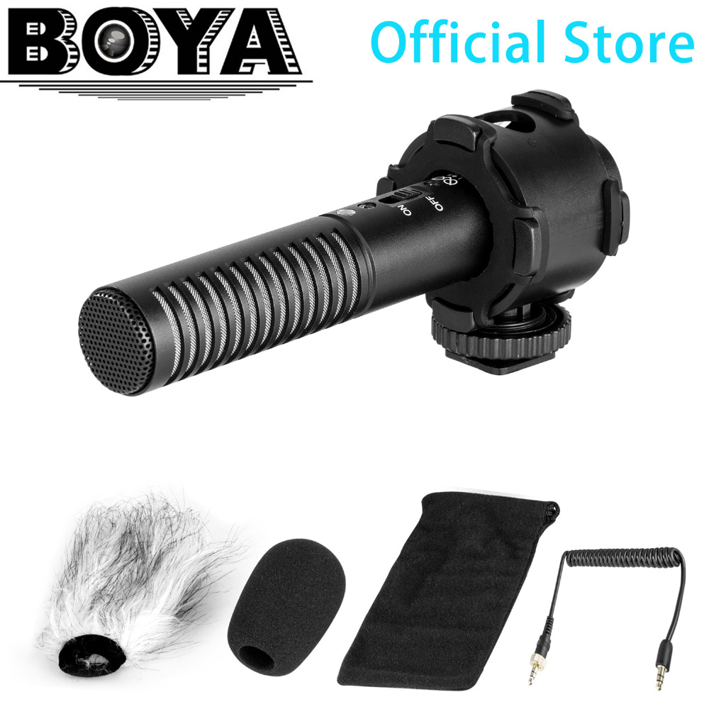BOYA BY-PVM50 Professional 3.5mm Stereo X/Y condenser Microphone for DSLR Camera Camcorder Audio Recorder Mic + Foam Windshield