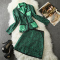 New runway 2014 designer Fashion women's fall queen ol elegant casual sets jacquard jacket leather skirt suit XL blue green