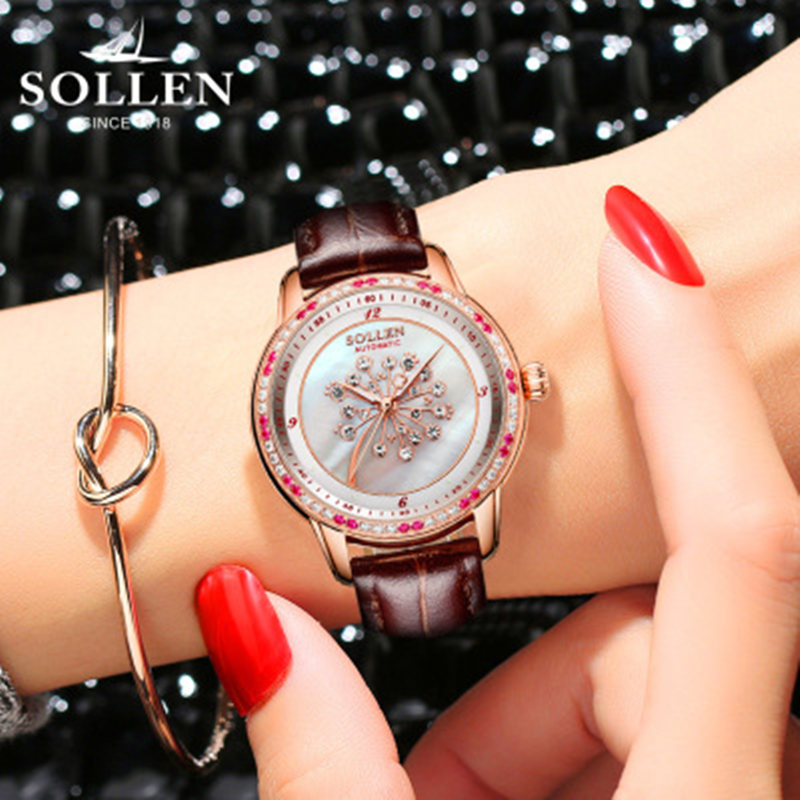 reloj mujer Dandelion new SOLLEN watches ladies automatic mechanical women watches really leather fashion trend waterproof 2015 reloj mujer xr527