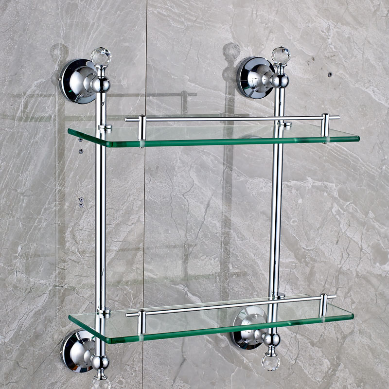 Chrome & Crystal Bathroom Double Glass Shelf Wall Mounted Brass Two ...
