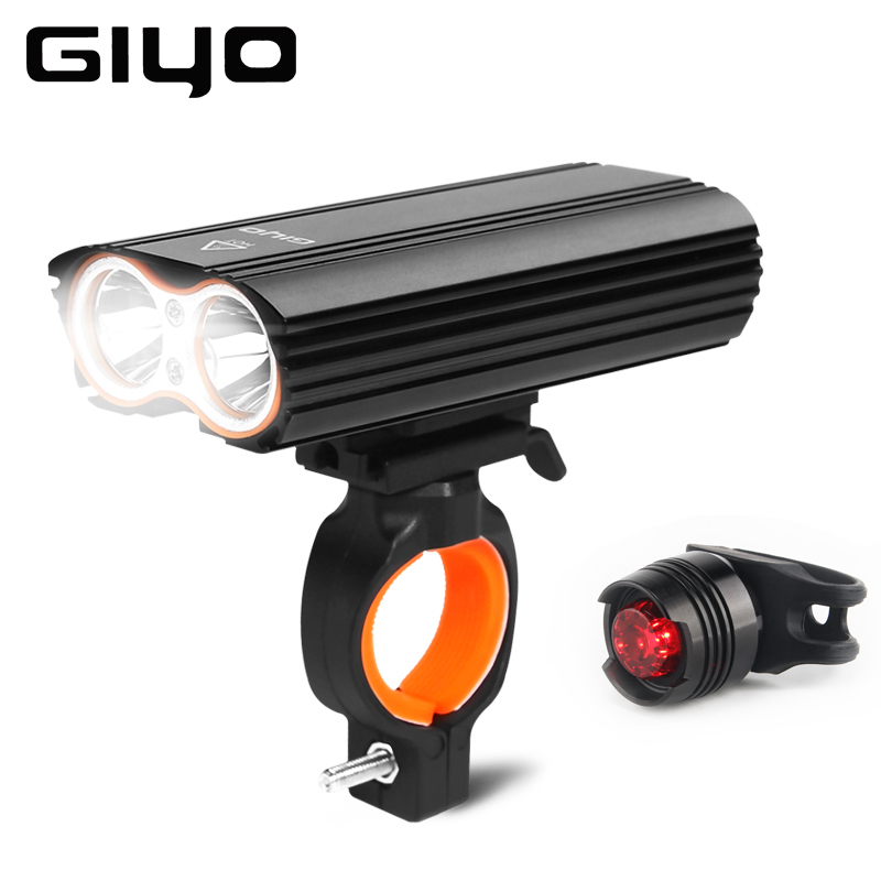 GYIO Flashlight For Bicycle Bike Light Front 2400Lm Headlight 2 Battery Leds Bicycle Light Cycling Lamp Lantern Bike Accessories