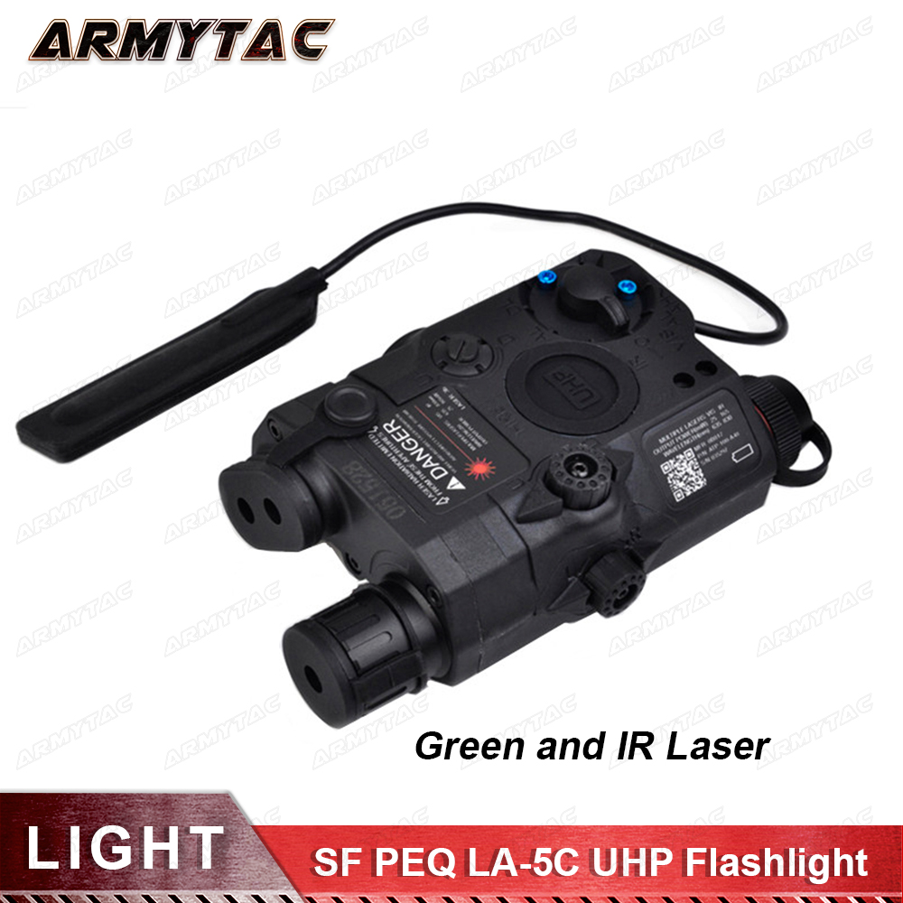 Tactical Airsoft Flashlight SF PEQ LA-5C UHP Green and IR Laser Tactical Light Combo With Remote Light Tail Switch ex 179 tactical torch element tactical light l 3 advanced illuminator combo with an peq 16a and m3x hunting tactical flashlight